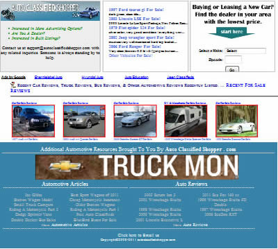 Bottom of auto classified shopper home page