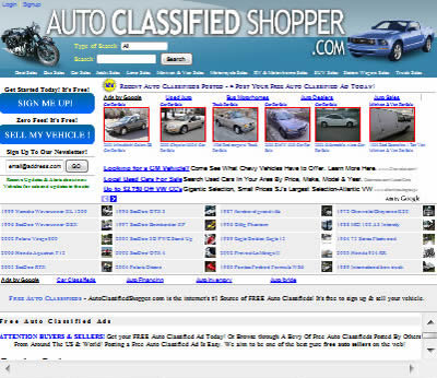 top half of our new index page at autoclassified shopper